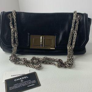 Chanel East West link chain leather shoulder bag